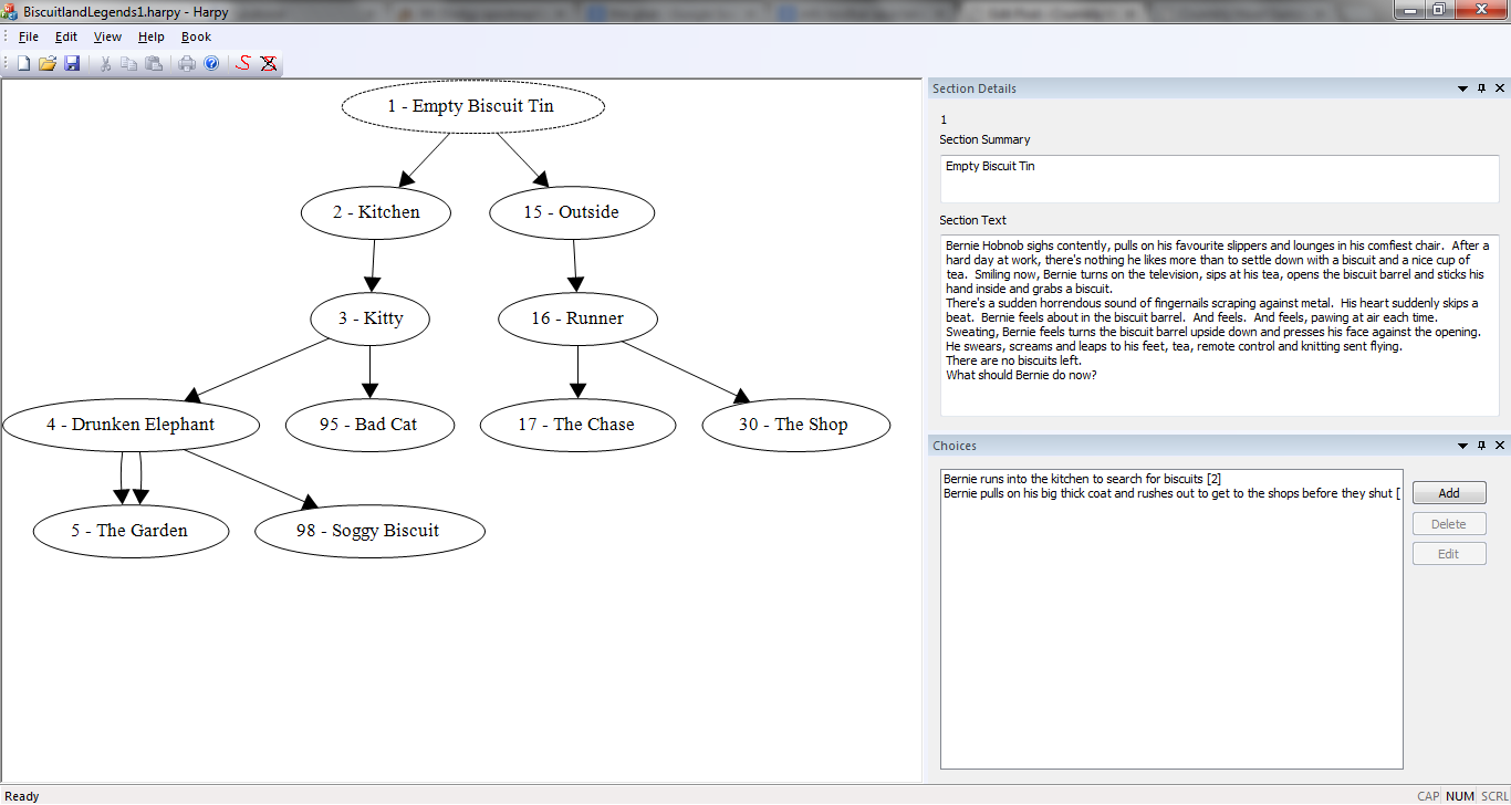Screenshot of the GameBook Authoring Tool