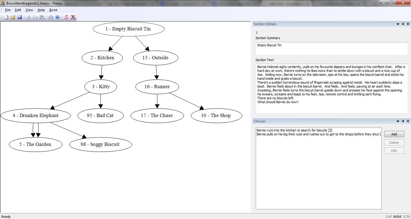 Screenshot of the GameBook Authoring Tool